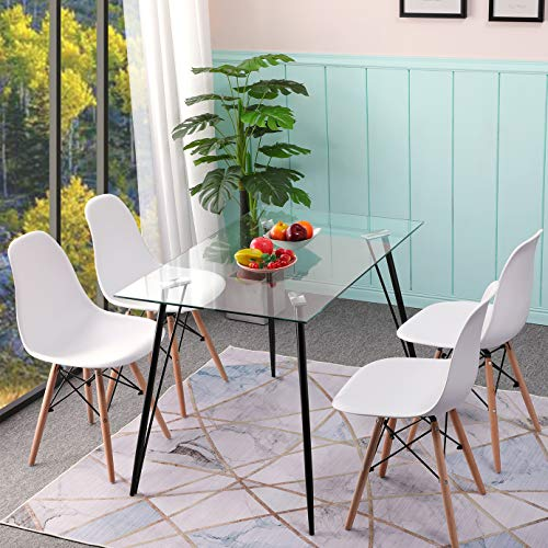 IPOTIUS - Mesa rectangular escandinava de comedor de cristal para 4 personas,...