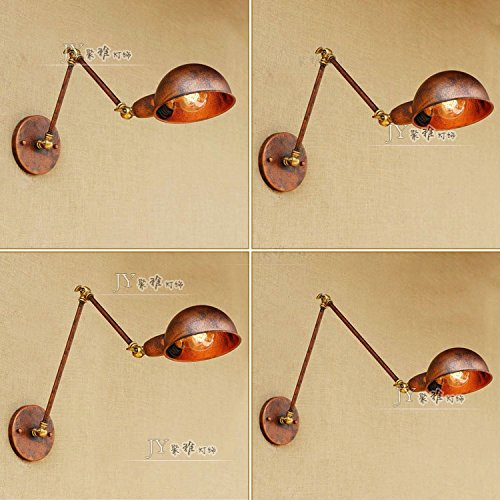 Lámpara de pared Lámpara de pared ajustable de telescopio plegable plegable de largo retro creativo tienda de ropa de doble sección,longitud del brazo: 20 + 20 cm (incluida fuente de luz LED)