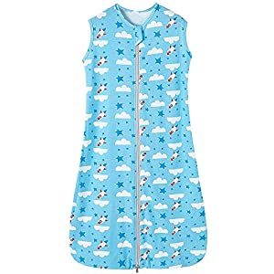 Saco de dormir de verano para bebé, niña, primavera, pijama fino, diseño de cohete y nube blanca, 0,5 tog, color azul…