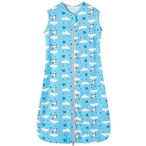 Babyschlafsack sommerschlafsack Baby mädchen Jungen Frühling Schlafanzug Neugeborene Blau Sterne Rakete Weiße Wolke 0.5 tog (110CM/18-36 Monate, Blau Sterne Rakete Weiße Wolke)
