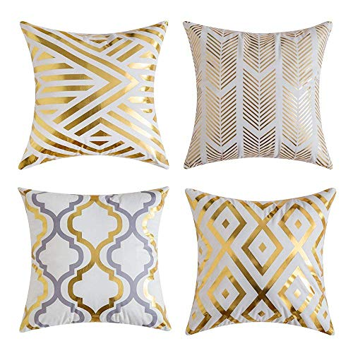 Freeas Pack of 4, Gold Stripes Soft Soild Decorative Outdoor Square Throw Pillow Covers Set Cushion Case for Sofa Bedroom Car 18 x 18 Inch 45 x 45 cm