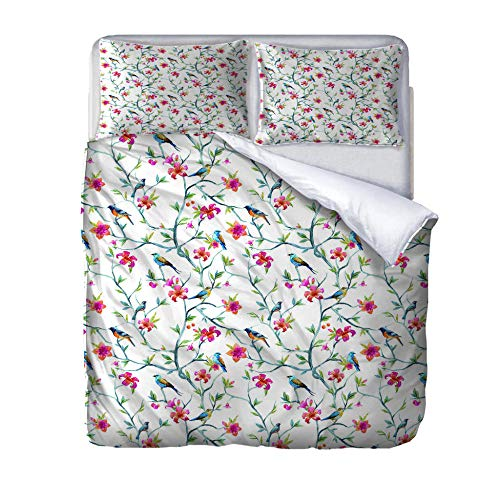 zzqxx Home Superking Duvet Cover Set Flowering branches and birds Bed Set Quilt Cover with Zipper Soft 100% Polyester Includes 2 Pillow Cases 3D Printed Bedding for Boys Girls Adults 260x220cm