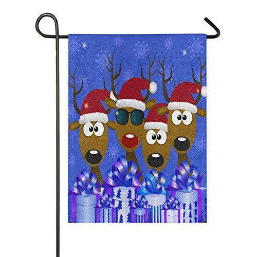 Bonita bandera de arpillera de Navidad con sombrero rojo de Papá Noel para jardín, doble cara, banderas de casa, patio, vacaciones, decoración al aire libre, regalo de 12 x 18