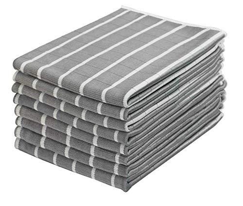 Gryeer 8er-Set Bambus und Microfaser Geschirrtücher, saugfähiges und fusselfreies Küchentücher, Reinigungstücher für Glas, Fenster, Edelstahl, 65x45cm, Grau