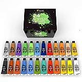Zenacolor Kit de 24 Tubes de Peintures Acryliques 120mL, 24 Couleurs, Peintures pour Toiles, Bois, Loisirs Créatifs, pour Adultes