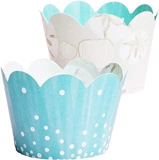 Under the Sea Cupcake Wrappers - 36, Mermaid Baby Shower Decorations, Island, Beach Theme, Retirement Party Supplies, Wedding Dessert Table Decor, Aqua Blue Bridal Shower, Favor Bag Holder