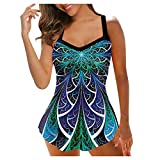 2021 Summer Plus Size Tankini Swimsuits for Women Two Piece Athletic Loose Fit Sporty Print Strappy Back Swimsuits Swimdress Bathing Suits with Shorts
