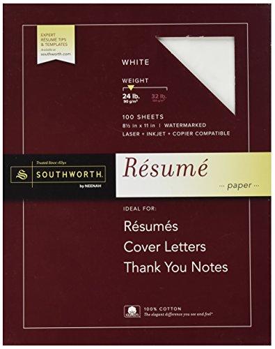 Southworth 100% Cotton Resume Paper, White, 24 lbs, Wove, 8-1/2 x 11, 100/Box