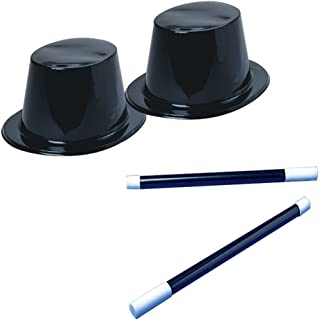 U.S. Toy Black Top Hat & Magic Wand Toy Party Favor Supplies Set for 12 Bundle 24 Pieces
