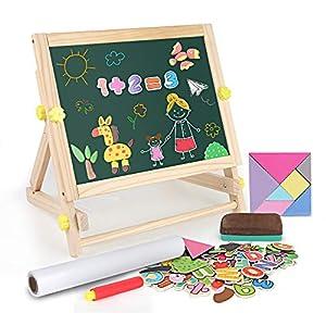 BeebeeRun 3 En 1 Pintar Pizarra Magnética De Madera para Infantil,Tableros De Caballete Tablero de Dibujo de Doble Cara para Niños Niña 3 Años 4 Años 5 Años