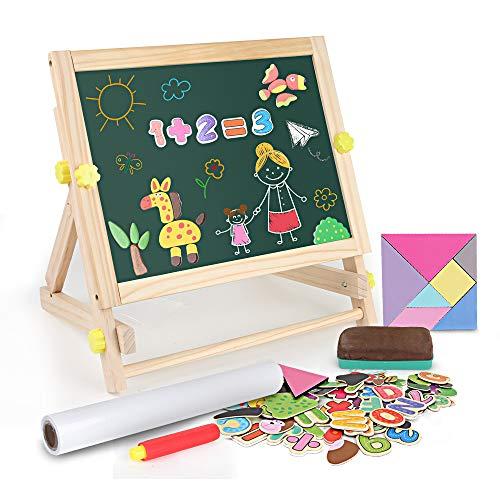 BeebeeRun 3 in 1 Lavagna per Bambini 3 Anni ,Cavalletto per Bambini con Lettere e Numeri Magnetici,Animale Puzzle,Rotolo di Carta,Lavagna Magnetica in Legno Giocattoli Educativi