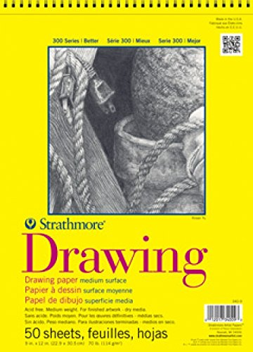"Strathmore 300 Series Drawing Pad, Medium Surface, 11""x14"", Wire Bound, 50 Sheets"