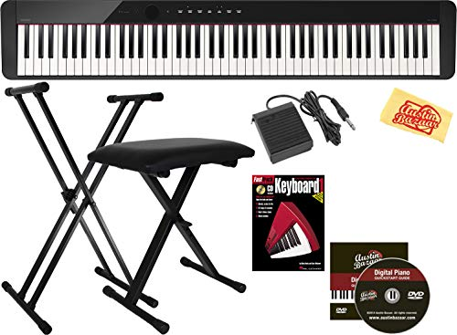 For Sale! Casio Privia PX-160 Digital Piano – Black Bundle with Adjustable Stand, Bench, Sustain Pedal, Instructional Book, Austin Bazaar Instructional DVD, and Polishing Cloth