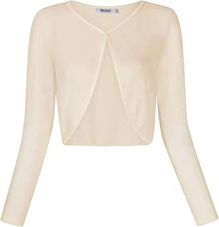 Comfortable Generous تنورة Womens Schrugs Vintage Bolero Long Sleeve Open Front Cardigans Cover Up for Dresses,Size:S,Colour:Pink (Color : Apricot, Size : L)