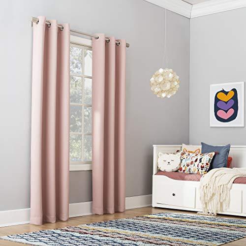 "Sun Zero Riley Kids Bedroom Blackout Grommet Curtain Panel, 40"" x 84"", Blush"