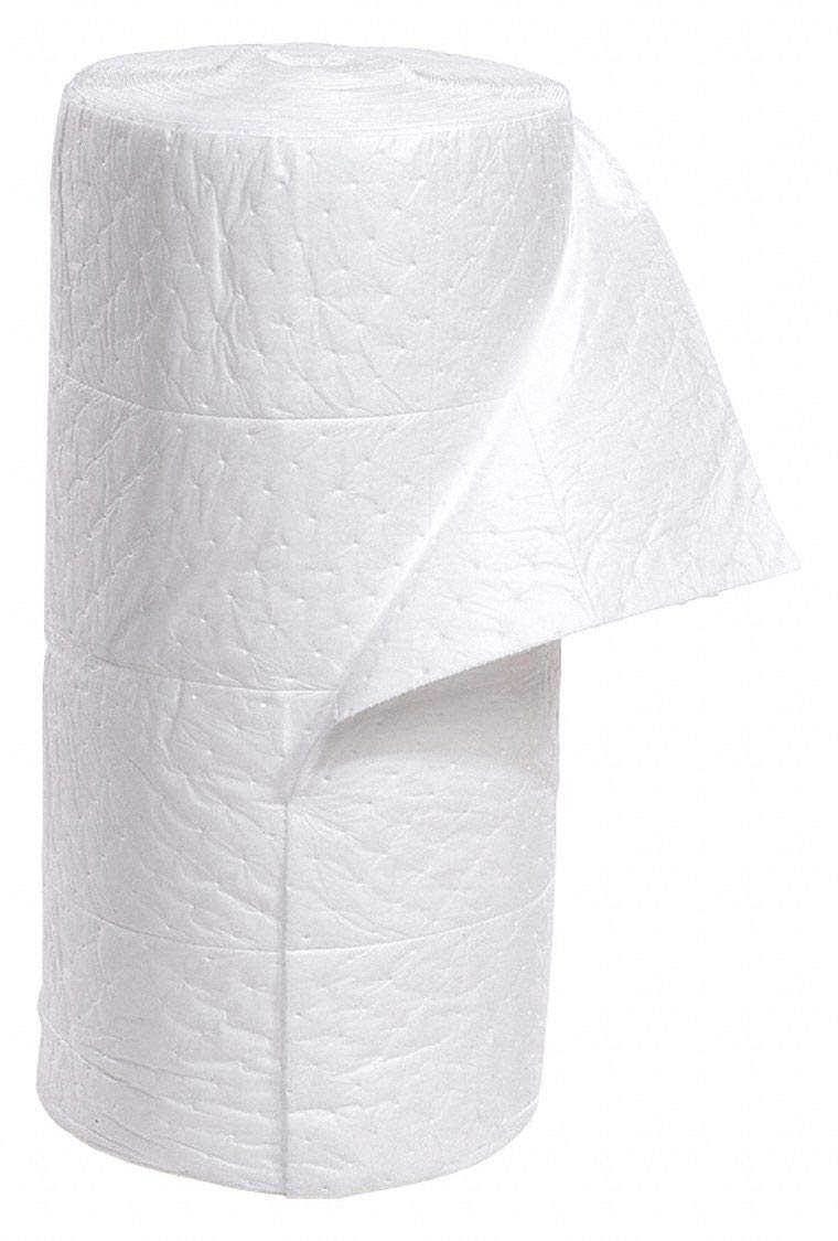 Absorbent Roll, Absorbs 49.8 gal. Oil-Based Liquids, White
