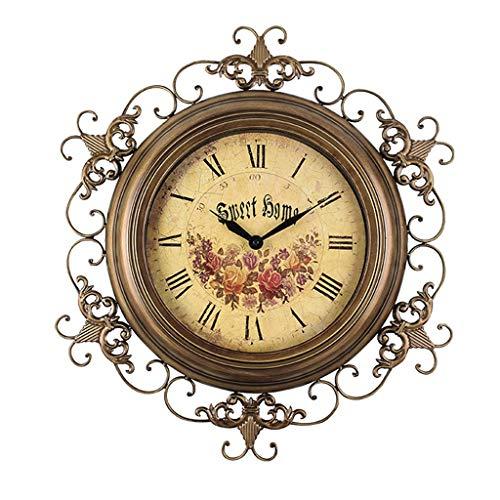 Horloge Murale Vintage/Horloge Romaine en Fer forgé/muet sans tic-tac, Convient au Salon, décoration, Cadeau (63 × 43cm)