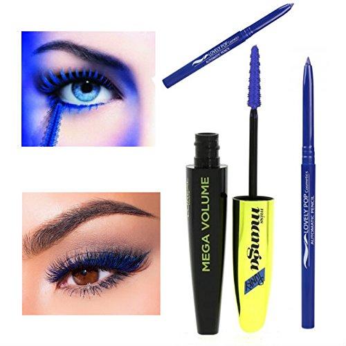 Kit L'Oréal Paris Mega Volume Miss Manga Punky Mascara Bleu Indigo + 1 Crayon Précision Eye Liner Pencil Bleu Azur - (2 produits)