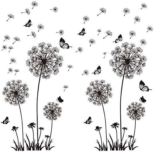 Wandtattoo Pusteblumen Schwarz 165X130cm Schmetterlinge Fliegen im Wind Wandsticker Löwenzahn Blumen Wandsticker Pflanzen Aufkleber-Wand-Deko für Wohnzimmer Garderobe Flur Fenster