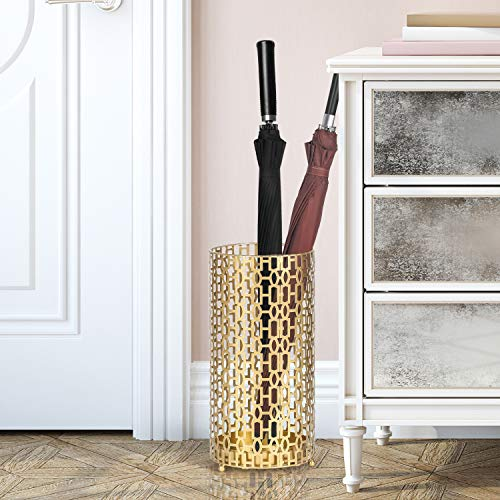 Joveco Umbrella Racks- Gold Metal Round Umbrella Stand Holder with Drip Tray for Home Entryway- Free Standing Holders for Canes Walking sticks and Hiking Poles (Mid Century Geometry)