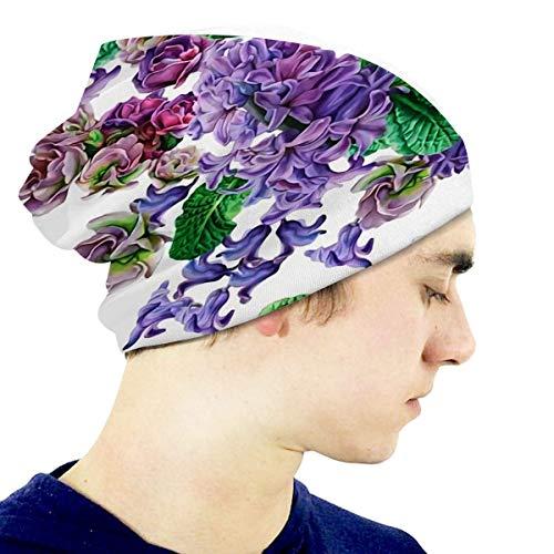G.H.Y Kinder Strickmütze Blumen Viola Hyazinthe Aquarell Beaniell Hut