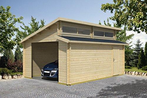 Holzgarage H28 - 44 mm Blockbohlenhaus, Grundfläche: 20,30 m², Stufendach