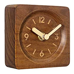 AROMUSTIME 4-Inches Square Wooden Desk Clock with Arabic Numerals Non-Ticking Silent Battery Operated, Brown