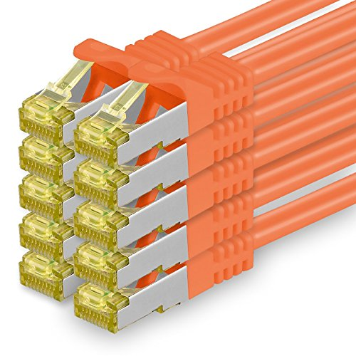 Cat.7 Netzwerkkabel 0,5m Orange 10 Stück Cat7 Ethernetkabel Netzwerk LAN Kabel Rohkabel 10 Gb s SFTP PIMF LSZH Set Patchkabel mit Rj 45 Stecker Cat.6a