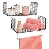 mDesign Juego de 2 estantes de pared – Versátiles estantes de metal para baño, garaje o lavadero...