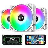 GIM KB-28 RGB Ventiladores de caja, paquete de 3 ventiladores enfriamiento silencioso de computadora de 120 mm para caja de PC, enfriador de velocidad de arco iris colorido ajustable con concentrador