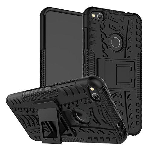 pinlu Custodia per Huawei P8 Lite 2017 Smartphone Armatura Rugged Heavy Duty Cover Doppio Strato TPU + PC Antiurto Protettiva Case Pneumatico Modello Nero