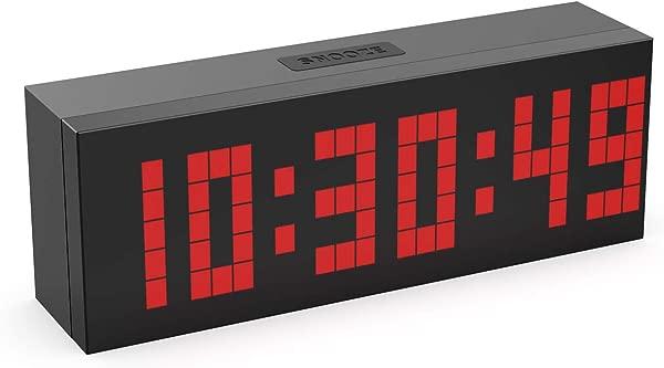 CHKOSDA Digital Alarm Clock 2 LED Digits Countdown Clock 3 Adjustable Brightness Snooze 16 Alarm Settings Calendar And Temperature Mute Digital Clock For Bedroom Bedside Office Red