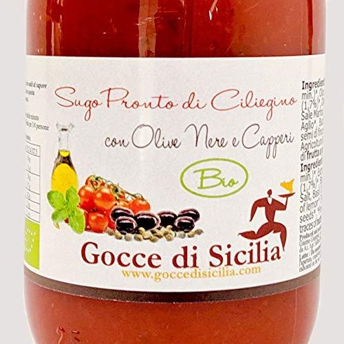 Gocce di Sicilia - Sugo BIO Olive Nere e Capperi di Pomodoro Ciliegino