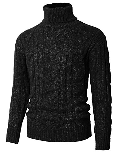 H2H Men Turtleneck Long Sleeves Pullover Cable Knitted Christmas Sweater Black US M/Asia L (KMOSWL0222)