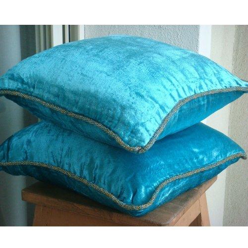 Turquoise Shimmer - Decorativa Funda de Cojin 66 x 66 cm, Square Turquesa...