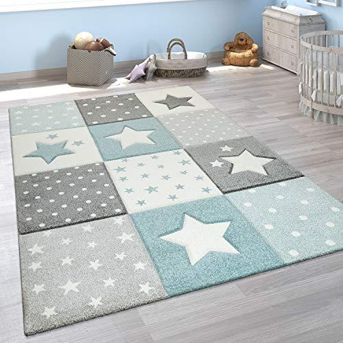 Paco Home Alfombra Infantil Moderna Pastel Cuadros Estrellas Lunares Diseño En Azul Gris, tamaño:120x170 cm