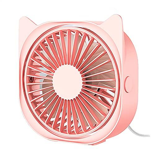LABYSJ Mini Ventilador de Escritorio silencioso USB, Ventilador de Escritorio para Oficina en Verano, Ajuste de 3 velocidades, rotación de 360 °, Ventilador de refrigeración USB portátil,Rosado