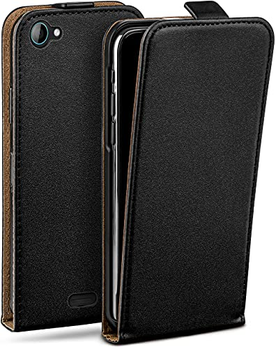 moex Flip Hülle für Wiko Jimmy - Hülle klappbar, 360 Grad Klapphülle aus Vegan Leder, Handytasche mit vertikaler Klappe, magnetisch - Schwarz