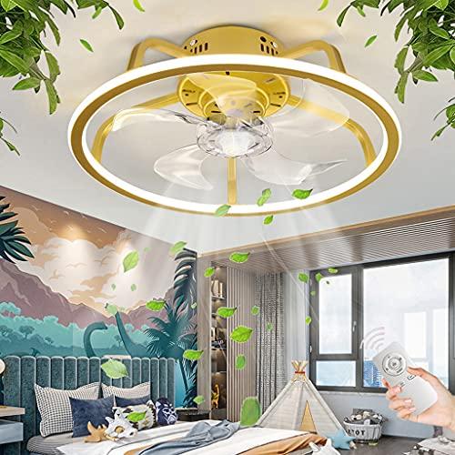 Ventilador De Techo Con Iluminación LED Ventilador Moderno Lámpara De Techo Regulable Con Control Remoto Lámpara De Ventilador Sala De Estar Dormitorio Habitación Infantil Luz De Techo (Round)