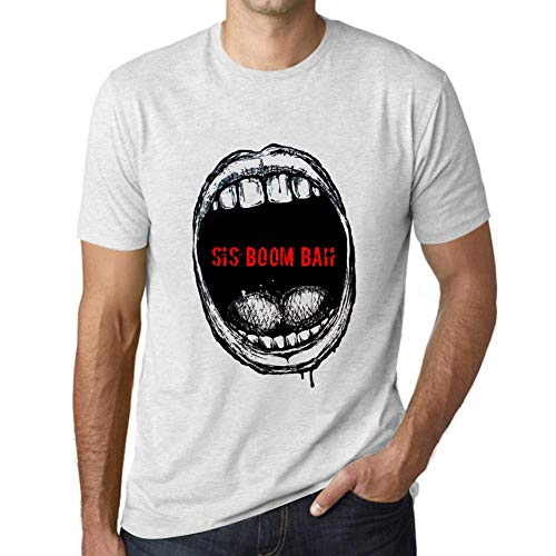 One in the City Hombre Camiseta Vintage T-Shirt Gráfico Mouth Expressions SIS Boom Bah Blanco Moteado