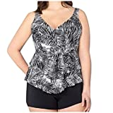 Lavany ❤️ Women Plus Size Sexy High Waist Swimsuit Set, Womens Summer Floral Print Backless Slit Bathing Suit Tank Swimsuit Black