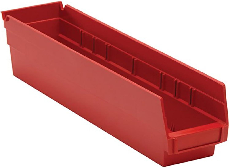 Quantum Storage Systems Economy Shelf Bin 17-7 8  X 4-1 8  X 4  Red Pack Of 20