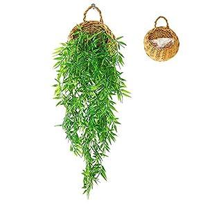 ANZOME Cesta colgante artificial de hiedra artificial, guirnalda colgante de plantas falsas para el hogar, pared…