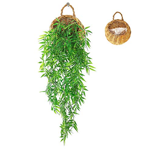 ANZOME Artificial Hanging Vine Basket Artificial Ivy, Fake Hanging Plants Trailing Garland for Home...