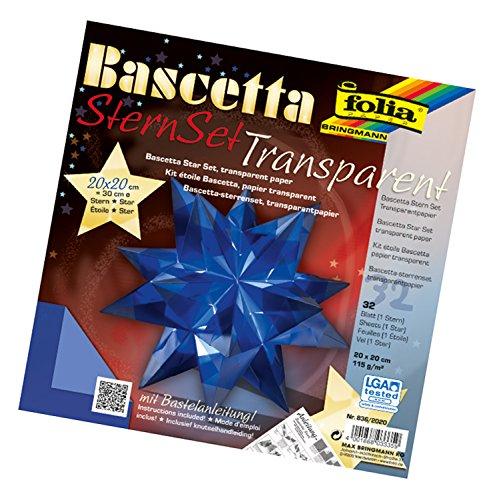 folia 836/2020 - Bastelset Bascetta Stern, Transparent blau, 20 x 20 cm, 32 Blatt, fertige Größe des Papiersterns ca. 30 cm, mit ausführlicher Anleitung - ideal zur zeitlosen Dekoration
