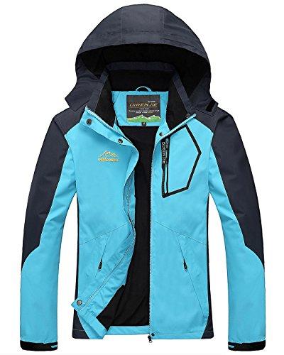 CIOR Men and Womens Waterproof Jacket Raincoat Windproof Jackets Outdoor Hooded Softshell Sports Outwear,BCFY01,Blue01,3XL