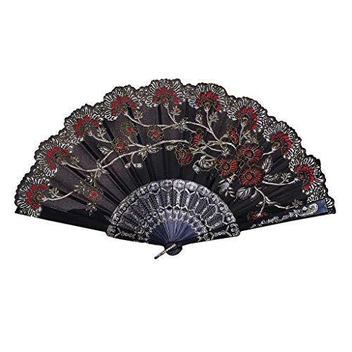 FeiFei66 Fashion Best Chinese Style Dance Wedding Party Lace Silk Folding Hand Held Flower Fan (Black)