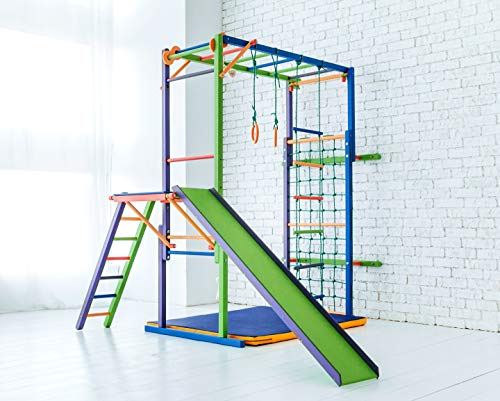 EZPlay Koala Indoor Jungle Gym – Sturdy Climbing Playset, Foldable Kids Play Area with Monkey Bars, Climbing Ladder, Slide, Swing Set & Rings, Adjustable Play Structure for Ages 4-10