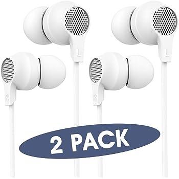 HIFI WALKER Auricolari In Ear, Cuffie Auricolari con Microfono, Bianco, 2 Confezioni