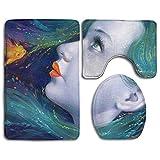LAURE Girl Digital Portraits Printing Toilet Baño Tocador de Inodoro Set de Inodoro Alfombra de Piso de Tres Piezas Absorbente de Alfombra